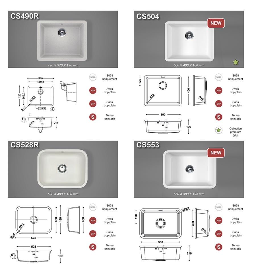 Pierre acrylique - Gamme cuves Hi-Macs