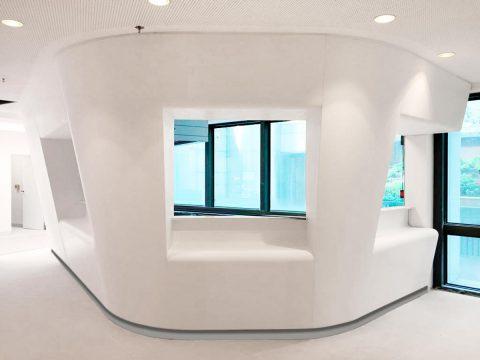 banque d 'accueil hopital pierre acrylique Villepinte